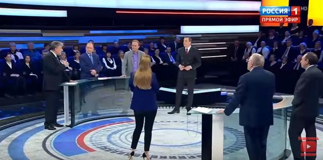 Фото с дебатов Грудинина и Жириновского