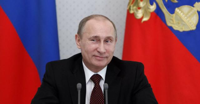 Фото улыбающегося Путина