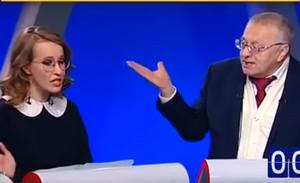 Перепалка Жириновского и Собчак на дебатах телеканал Россия 24